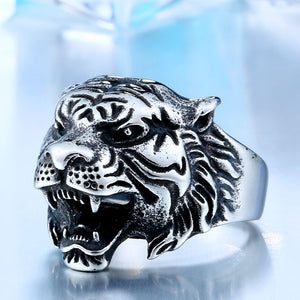 Fierce titanium tiger head alloy ring