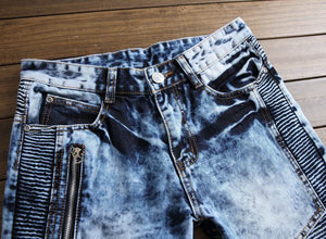 Zipper motorcycle denim jeans