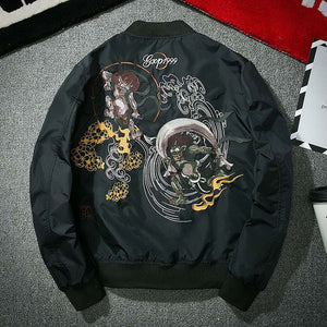 Japanese creature design embroidery bomber jacket