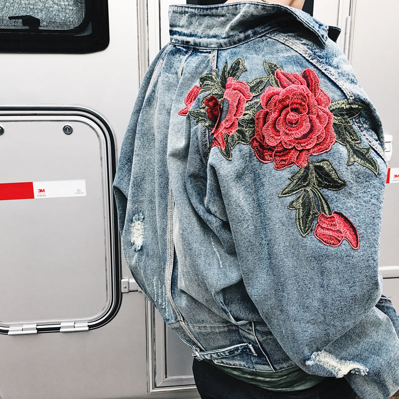 Rose Petal Embroidery Denim Jacket Authentic Lifestyle