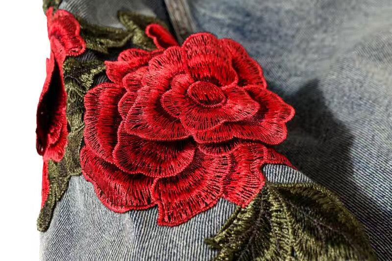 Rose petal embroidery denim jacket