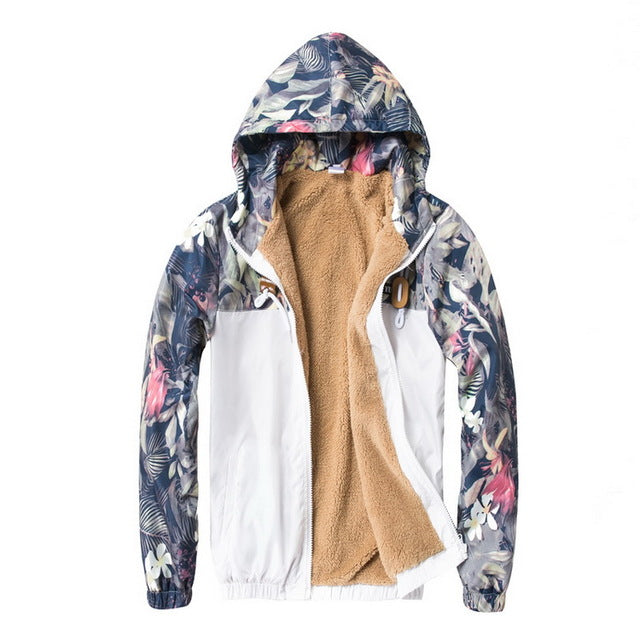 Floral windbreaker jacket thin / fleece lining / parka ver.
