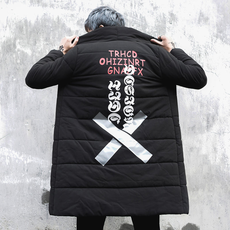 Thick text design trench coat