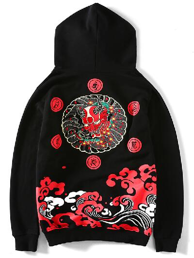 Embroidery Japanese Oni hoodie