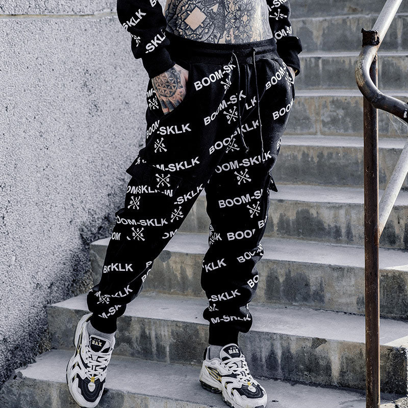 Crazy text cargo sweatpants