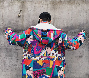 Japanese ukiyo style hooded jacket