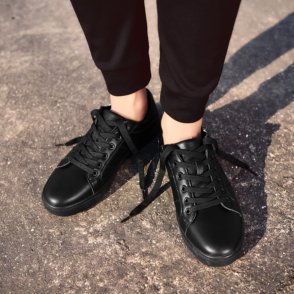 Dark leather casual sneakers