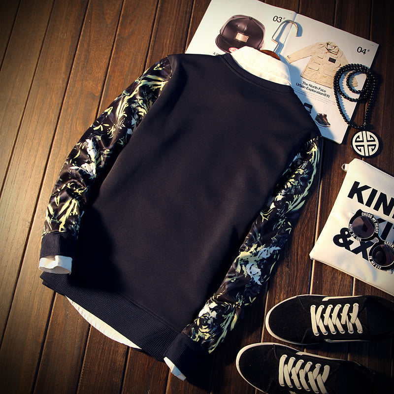 Casual floral sleeve sweatshirt
