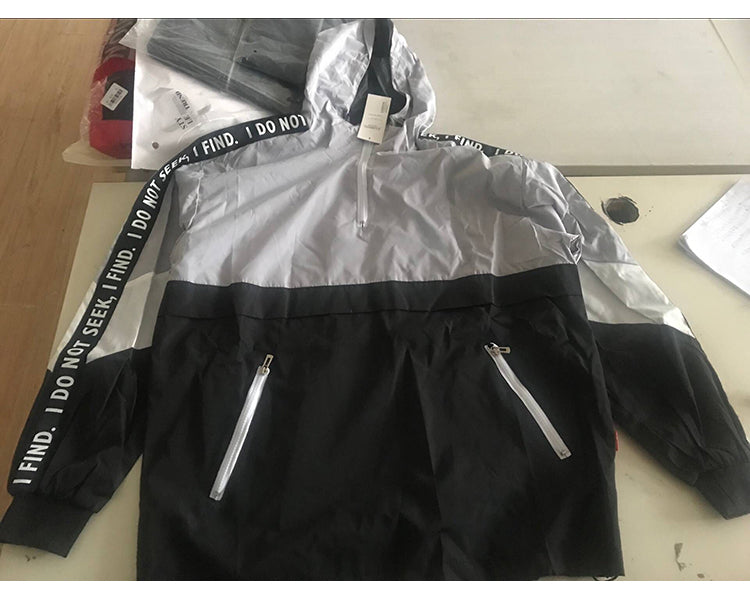 """I do not seek"" patchwork windbreaker jacket"