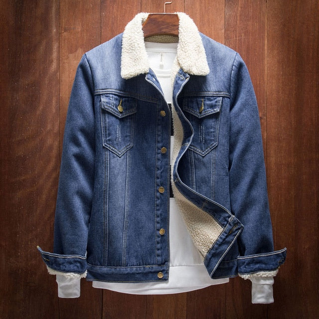 Fleece lined patched vintage denim jacket