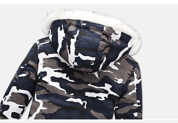 Fur collar camo parka jacket