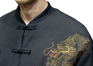 Carbon black Tang Dynasty jacket dragon shoulder