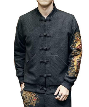 Carbon black Tang Dynasty jacket dragon sleeve