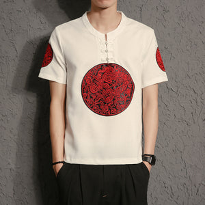 Ancient meets modern T-shirt red sun - premium ver.