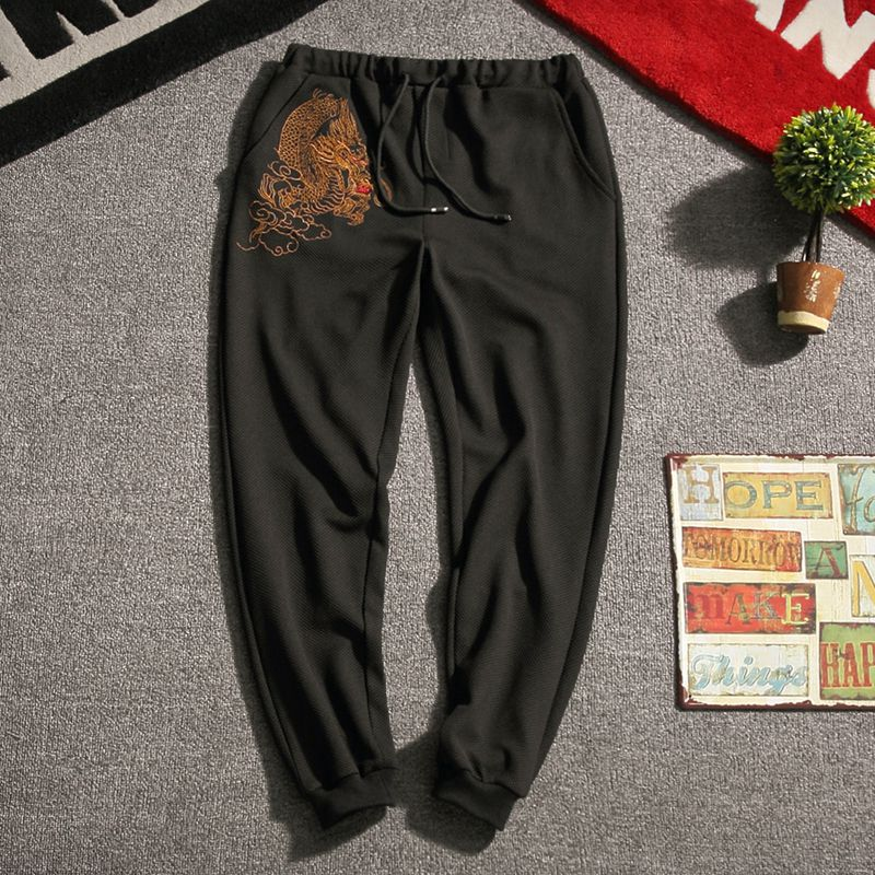Carbon black Tang Dynasty inspired sweatpants dragon design