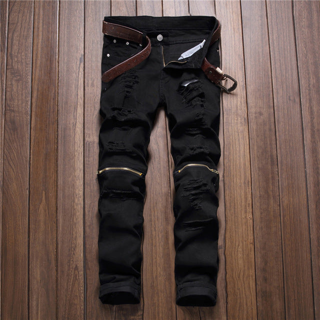 Ripped solid color jeans various