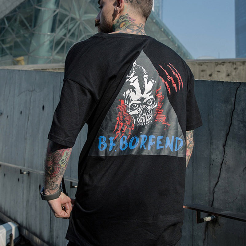 Undead shoulder zip T-shirt