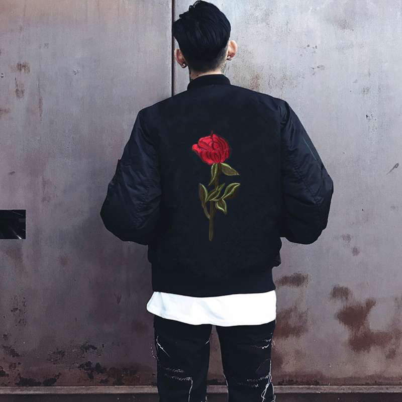 Classic single rose bomber jacket
