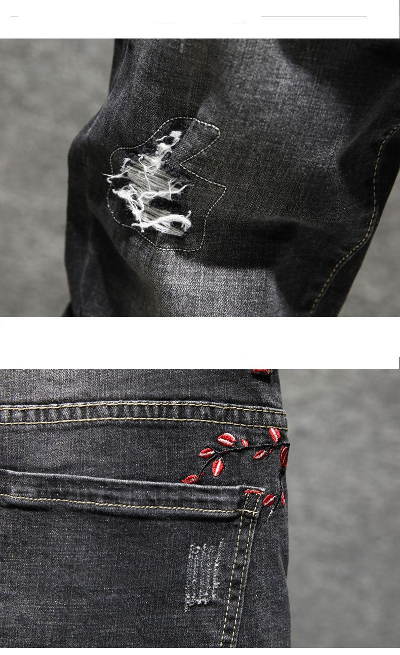 Flower embroidery denim jeans