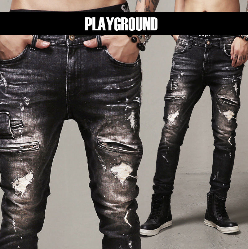 Men's vintage playground zipper jeans
