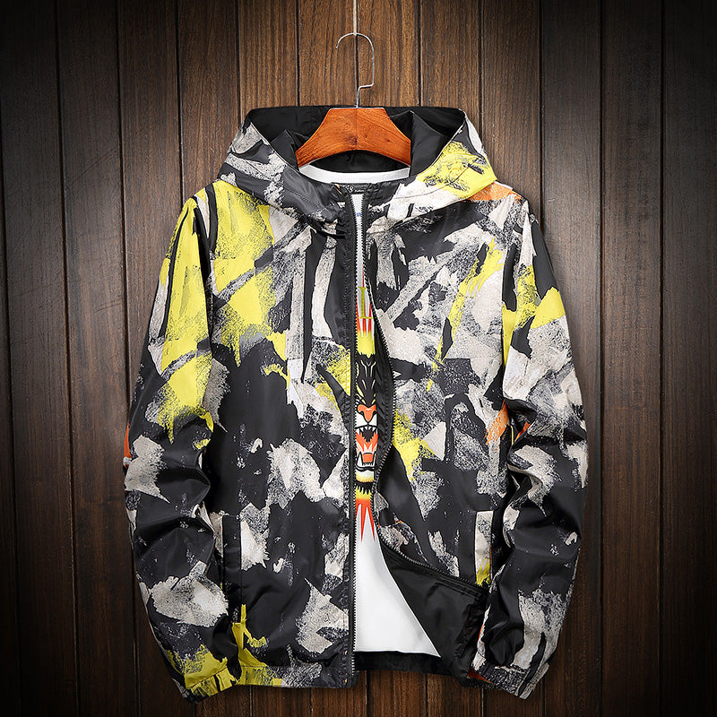 Paint splash color windbreaker jacket