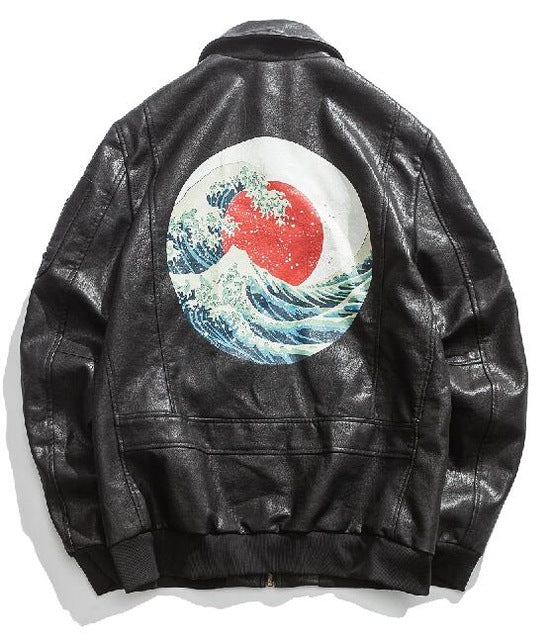 Japanese wave faux leather jacket