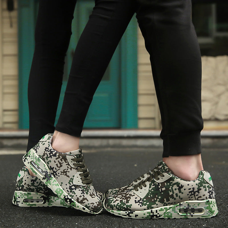 Digital camo & solid trainers
