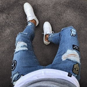 Military patched skinny denim jeans