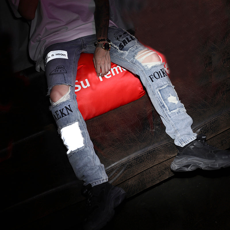 Graffiti reflector jeans