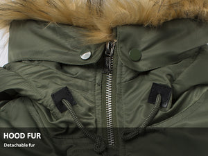 Fur hooded military style long coat