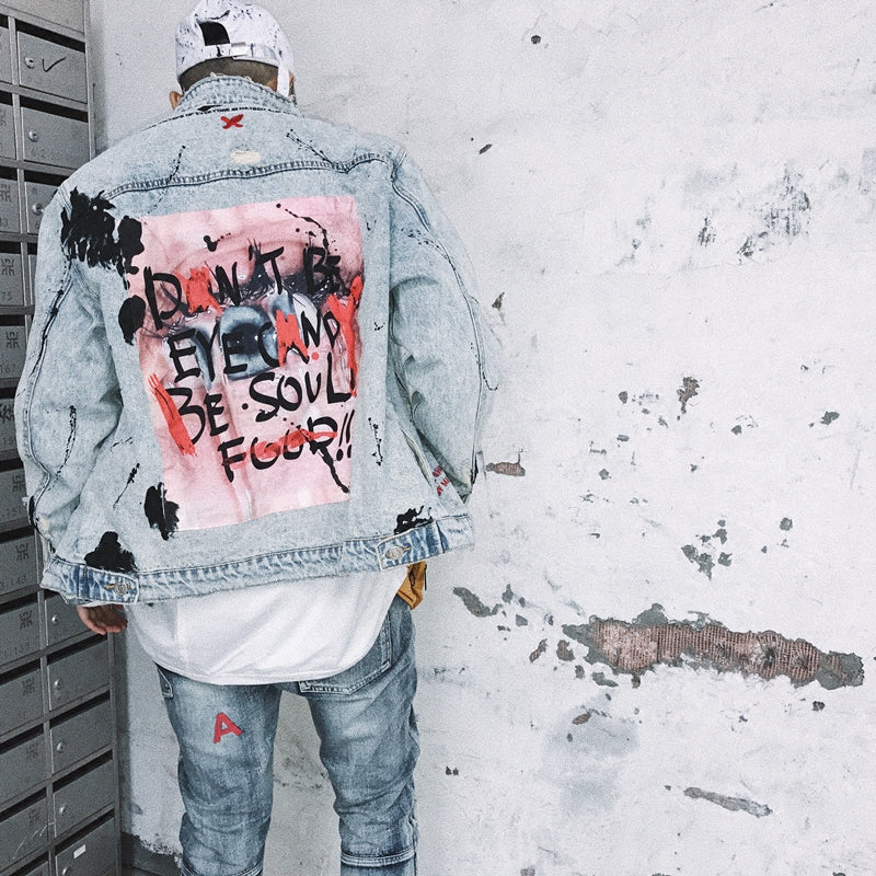 """Eye of the beholder"" vintage denim jacket"