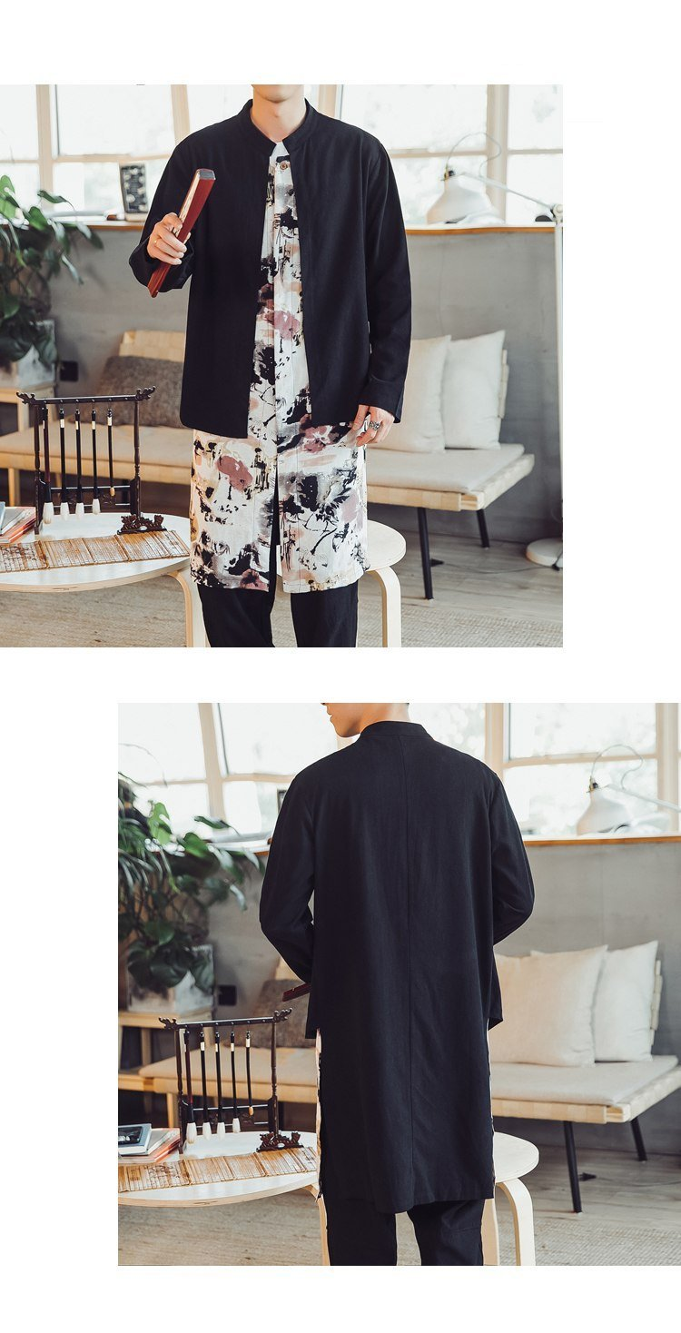 Japanese flower waves trench coat