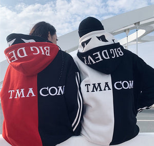 Ghost text patchwork hoodie