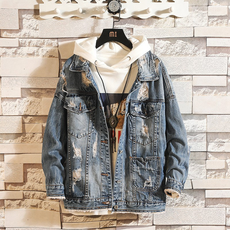 Ripped distressed vintage denim jacket