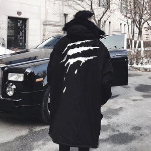 Raptor scratch fur hooded trench coat ver. 2