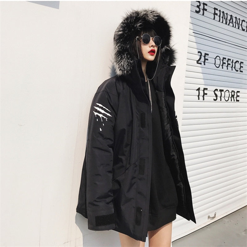 Raptor scratch fur hooded trench coat