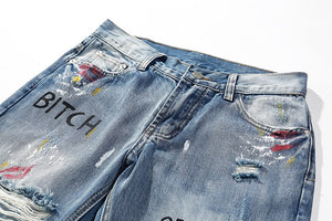 Graffiti vintage denim jeans
