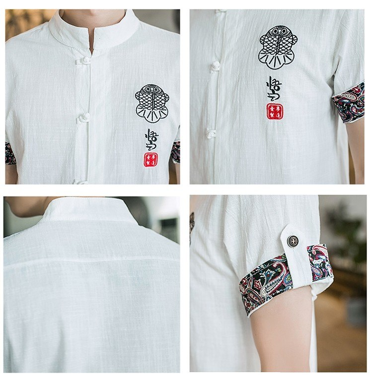 Traditional Chinese button down half sleeve shirt