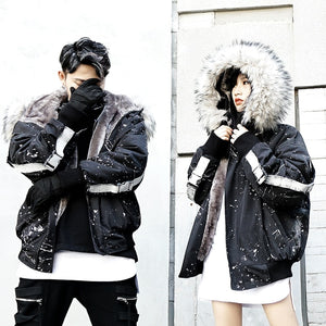 Paint splatter fur lining jacket