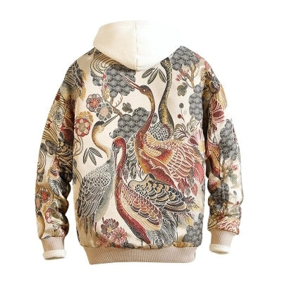 Japanese ancient crane embroidery jacket
