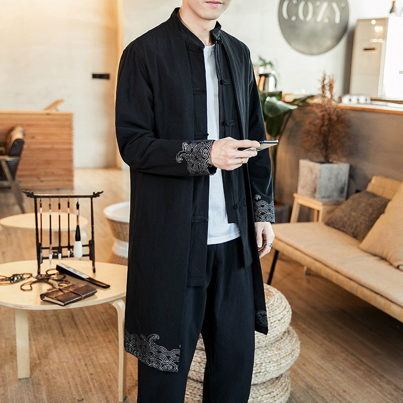 Irregular long Chinese style jacket