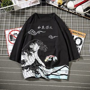 Chinese style carp wave T-shirt