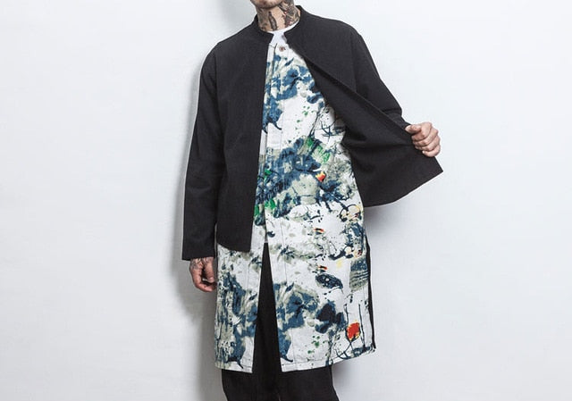 Chinese style double layer long jacket
