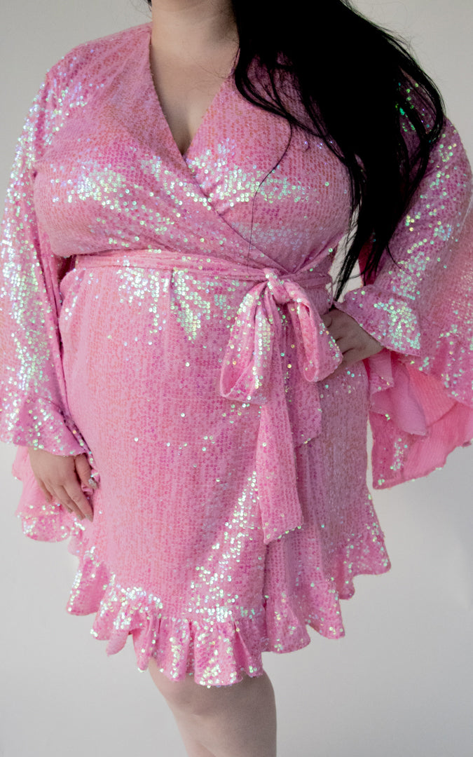 Paris Dress in Pink Sequins
