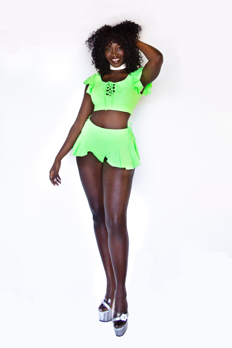 Naomi top in neon palm green