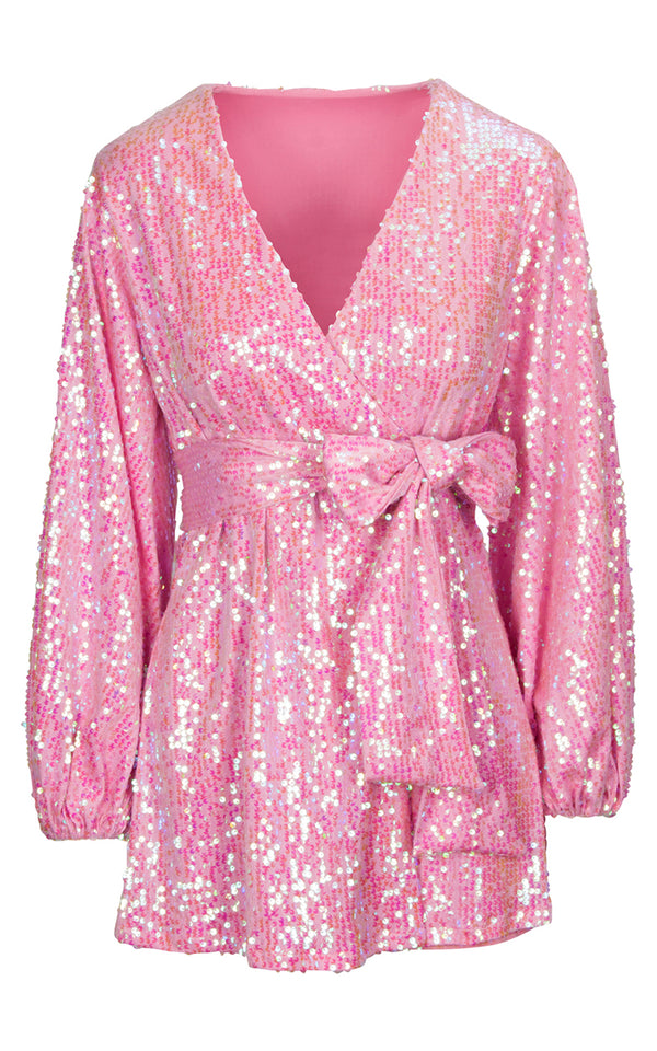 The Mini wrap dress in Pink Sequins
