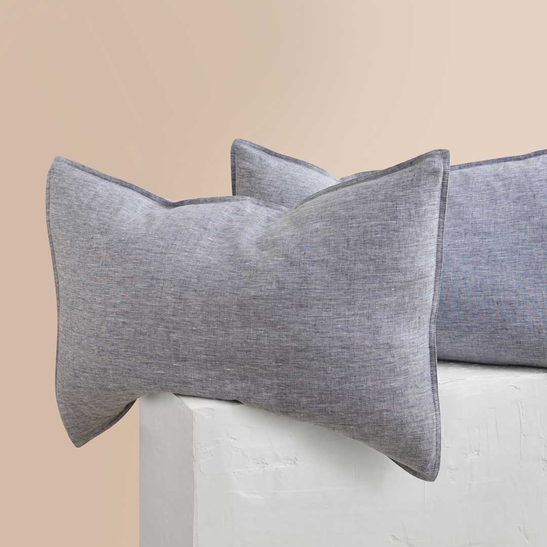 Chambray Linen Pillowcases - Indigo