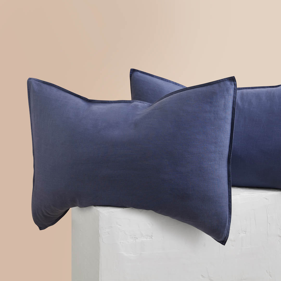 Eve Linen Pillowcases - Midnight