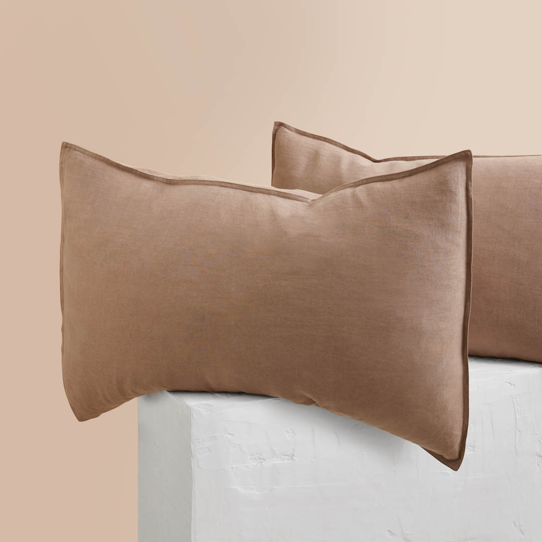Eve Linen Pillowcases - Mocha