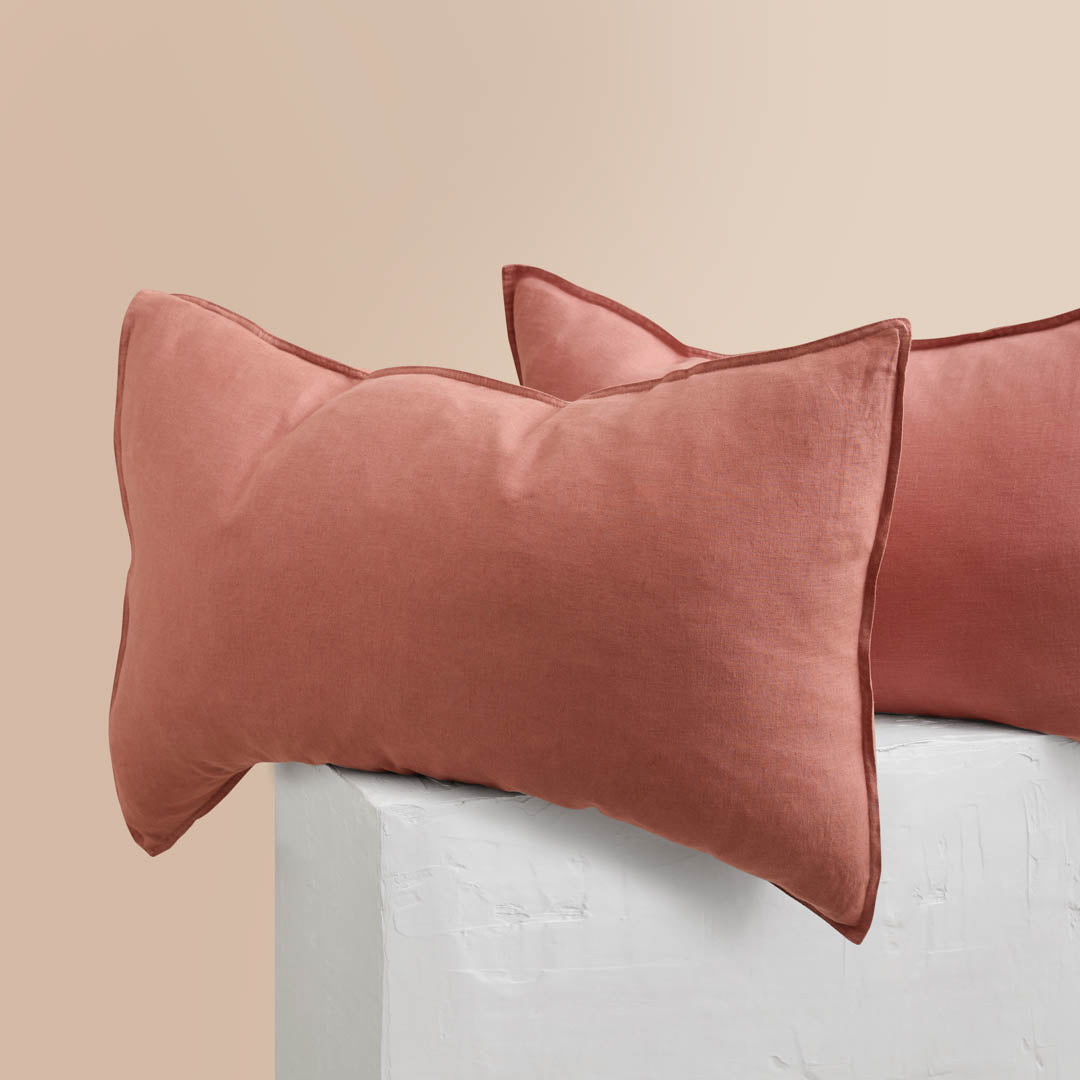 Eve Linen Pillowcases - Rust